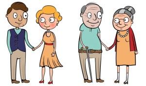 młoda i stara para
